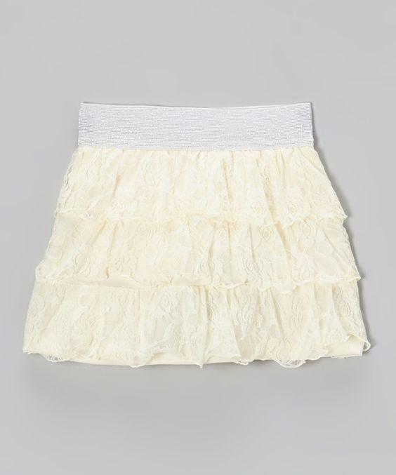 Love this Cutie Patootie Beige Rose Lace Skirt by Cutie Patootie on #zulily! #zulilyfinds
