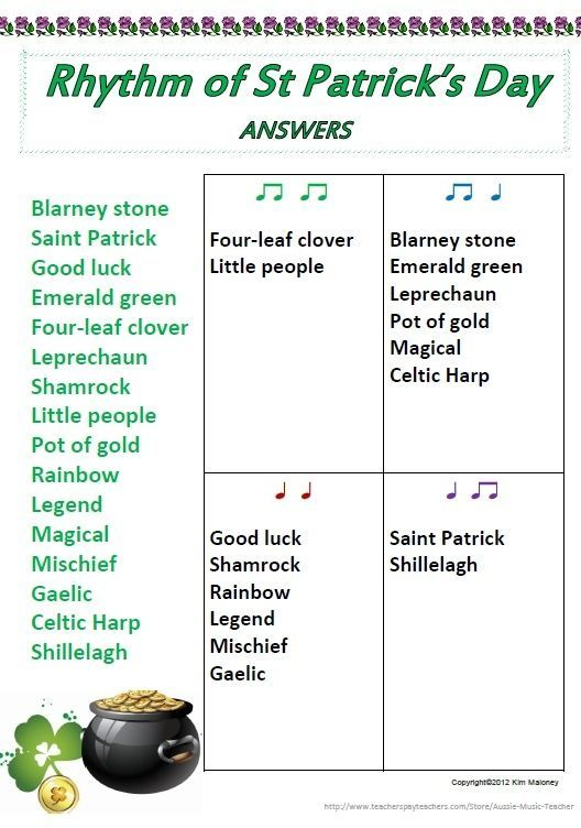 St Patrick's Day Rhythm worksheet - one of 13 Rhythm for young musicians! Each worksheet is a different topic AND has an ANSWER sheet provided