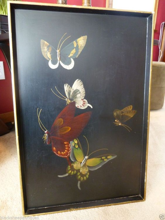 Vintage Hand Painted Wood Tray Wall Hanging Butterflies on Black Tole Handpained