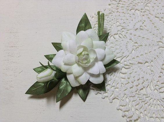 コサージュ くちなし blueblue布花制作部 フローラル 布花 ハンドメイド