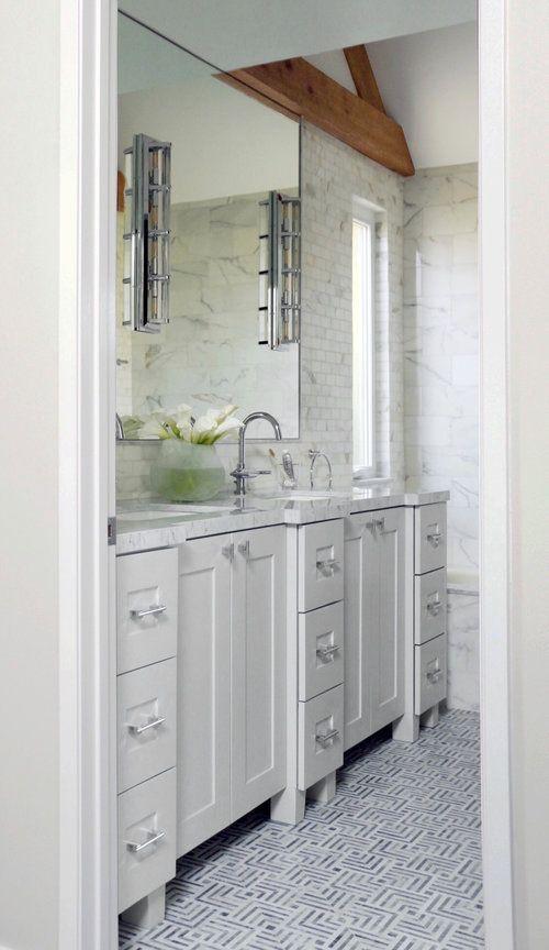 Mosaic Square Tiles On The Floor Large Mirror Over Vanity White Double Vanity Bathroom Design Decor Bathroom Interior Design Interior Design Consultation