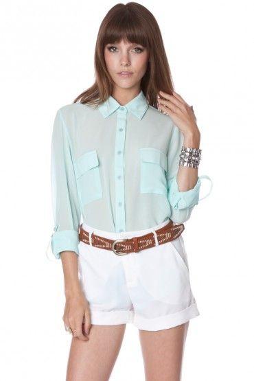 Signature chiffon blouse in light mint
