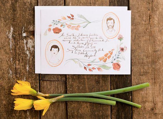 Floral Portraits hand drawn invitation set