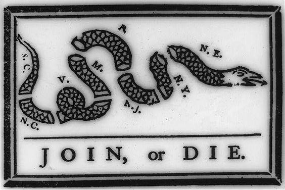 The broken coiled  snake represents the broken colonies