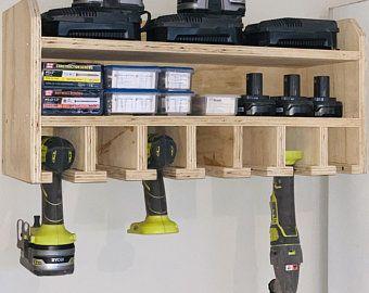 Pdf Plans Power Tool Holder Plan Cordless Tool Organizer Plan Drill Charging Station Plan Wall Mounted Tool Storage Plan Metric Measurments In 2020 Easy Garage Storage Garage Organization Diy Tool Storage Diy