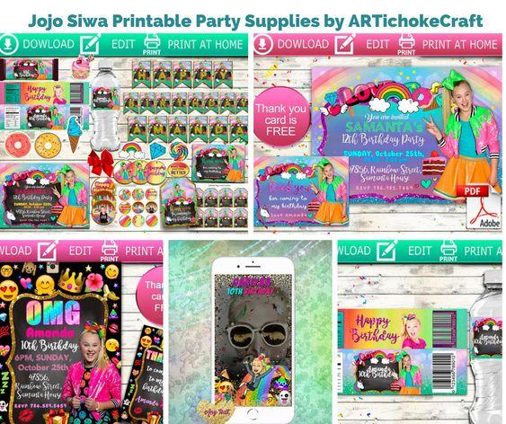 Jojo Siwa Printable Party Supplies by ARTichokeCraft