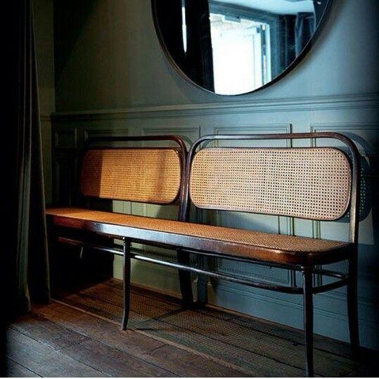 Wicker back bench/love seat - entrance seating, circular mirror