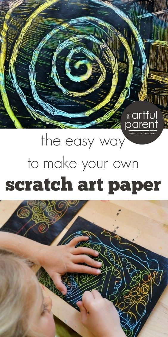 DIY scratch art is easier than you might think. Kids can make this beautiful scratch art paper with oil pastels, black paint, and toothpicks.