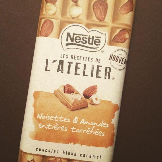 La nouveauté qui tue : le chocolat blond, noisettes et amandes torréfiées #nestle #lesrecettesdelatelier #chocolat #tablette #instachocolate #yummy