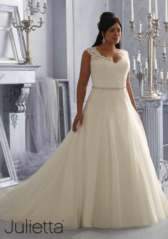 wedding dress from Julietta by Mori Lee Dress Style 3162 Sparkling Embroidered Lace Appliques on a Tulle Bridal Gown