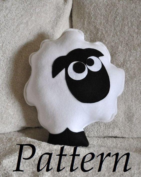 White sheep pillow stuffed animal DIY PDF Sheep Pillow Pattern Glasses, Patterns and DIY and ...