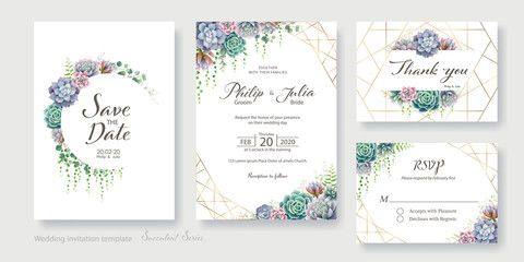 Greenery Succulent And Branches Wedding Invitation Card Save The Date Than Succulent Wedding Invitations Branch Wedding Invitations Wedding Invitation Cards