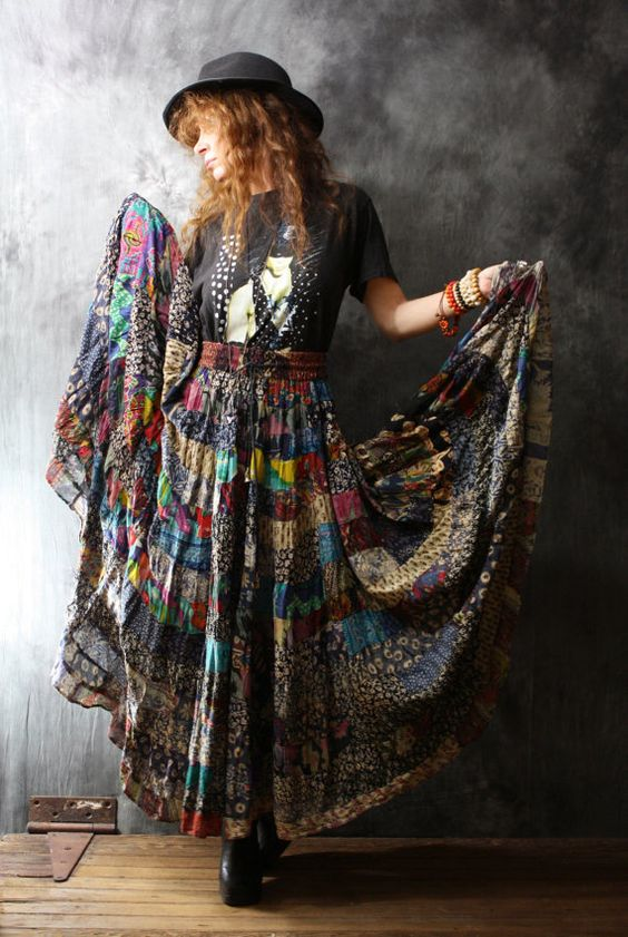 Vintage Dress Skirt 1980s Gypsy Bohemian India Patchwork Skirt Big Sweep