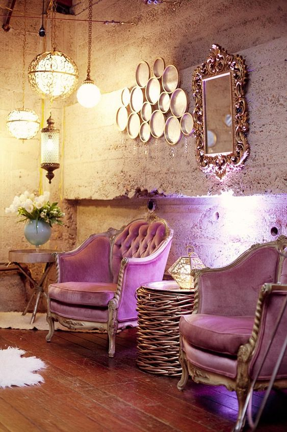 ❤ the contrast of the rustic walls against the Chester plum velvet chairs.