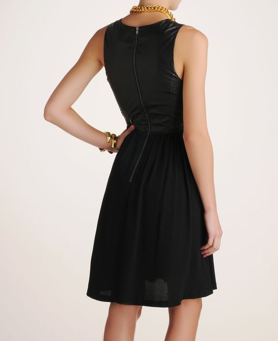 LINE & DOT LEATHER AND RAYON DRESS