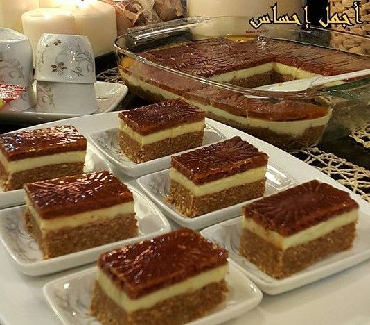 طريقة عمل حلى السميد ببسكوت الجوزاء Sweet Semolina Arabic Dessert Desserts Sweets