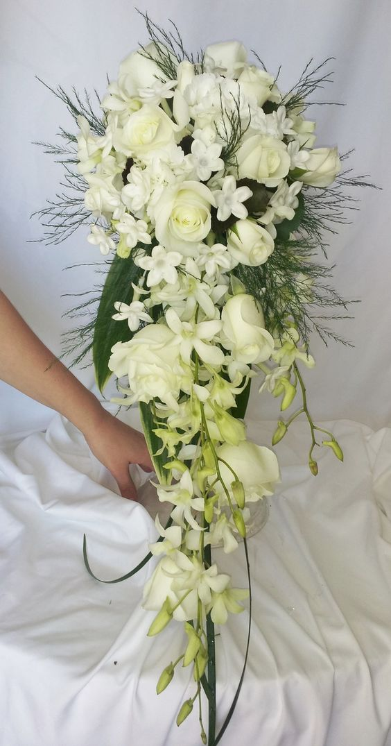 cascading bridal bouquets | All white cascading bridal bouquet