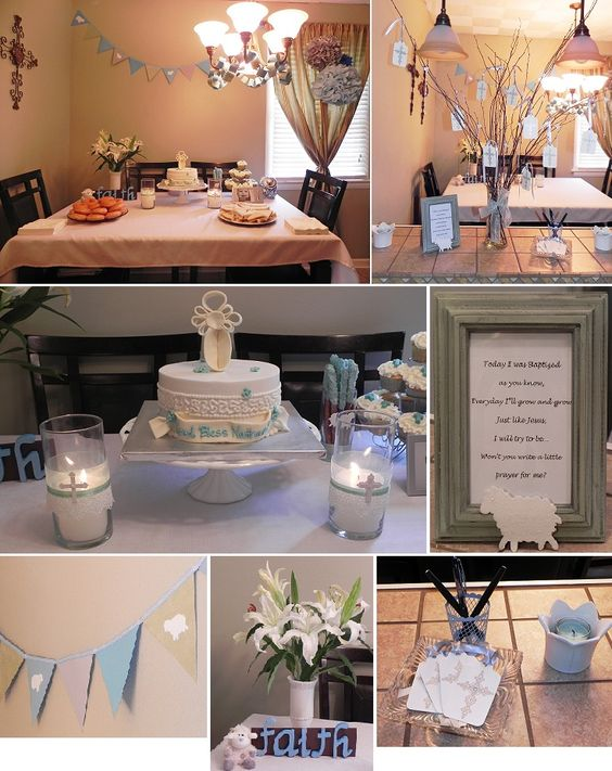 Baby boy baptism christening party decorations fave for Baby boy baptism decoration ideas