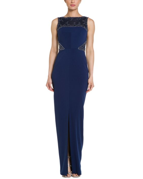 Badgley Mischka Navy Beaded Illusion Gown is on Rue. Shop it now.