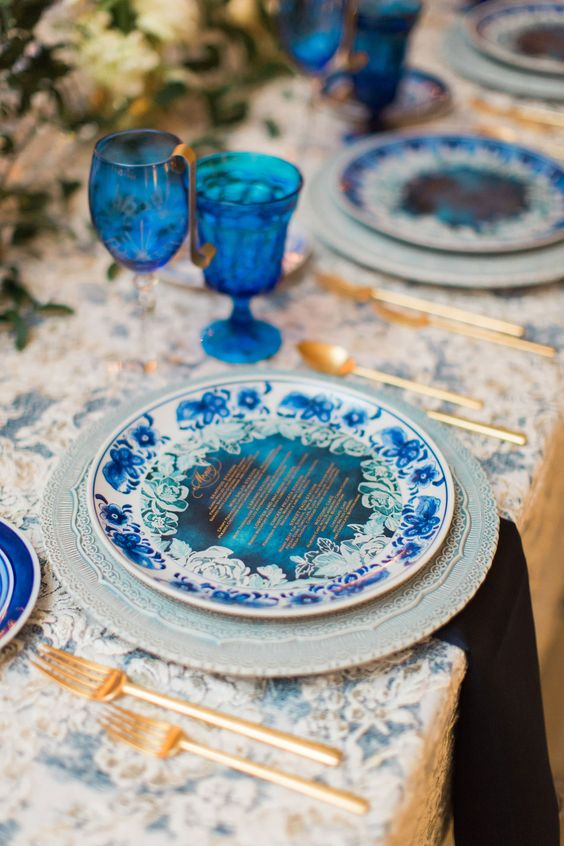 pantone color of the year 2020 classic blue wedding ideas blue wedding reception drinkware goblets