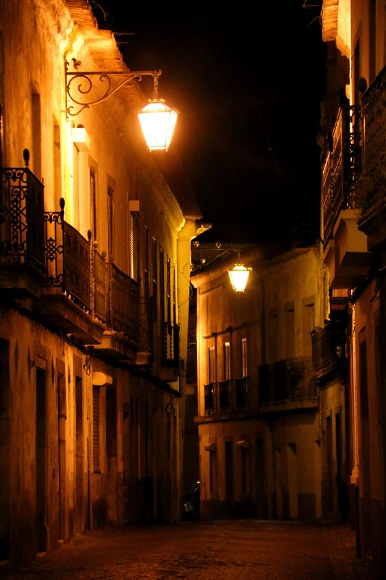 Beja in the night silence - Street of the historical center of Beja at night