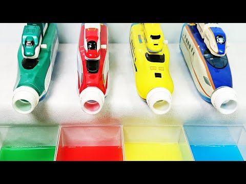 新幹線 カプセルプラレール ドクターイエローやe5系はやぶさの先頭車を後尾車に合わせて英語の色を覚えよう ペットボトルの色水から新幹線が出てくるよ Omotoyka2see Youtube ペットボトル おもちゃ ペットボトル 赤ちゃんおもちゃ