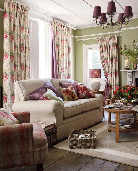 Wisteria Floral Cranberry Cotton/Linen Mix Curtain Fabric | Living ...