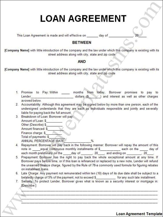 Printable Sample Personal Loan Agreement Form – Company Loan Agreement Template