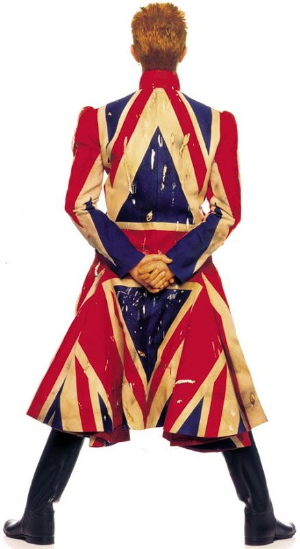 This Union jack coat was designed for Bowie by Alexander McQueen for the Earthling album cover (released in 1997).