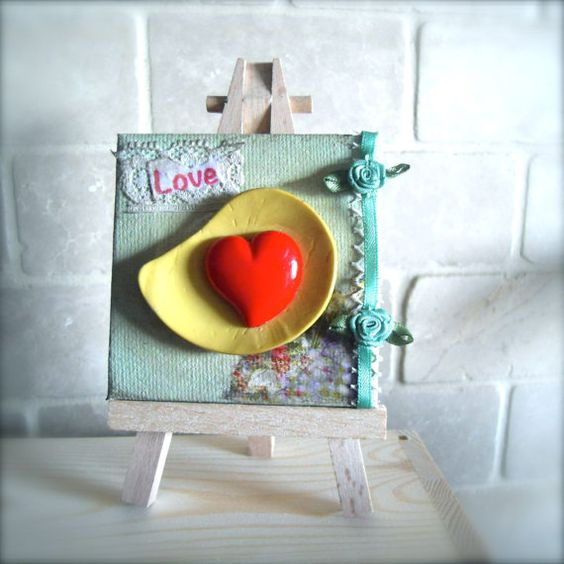 Mini Canvas Art With Easel  Button Love by discerningchichi
