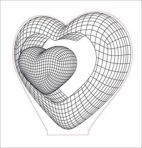 Double Heart 3d Illusion Acrylic Led Lamp Vector Dxf Cdr Etsy In 2020 3d Illusions 3d Illusion Lamp Illusions