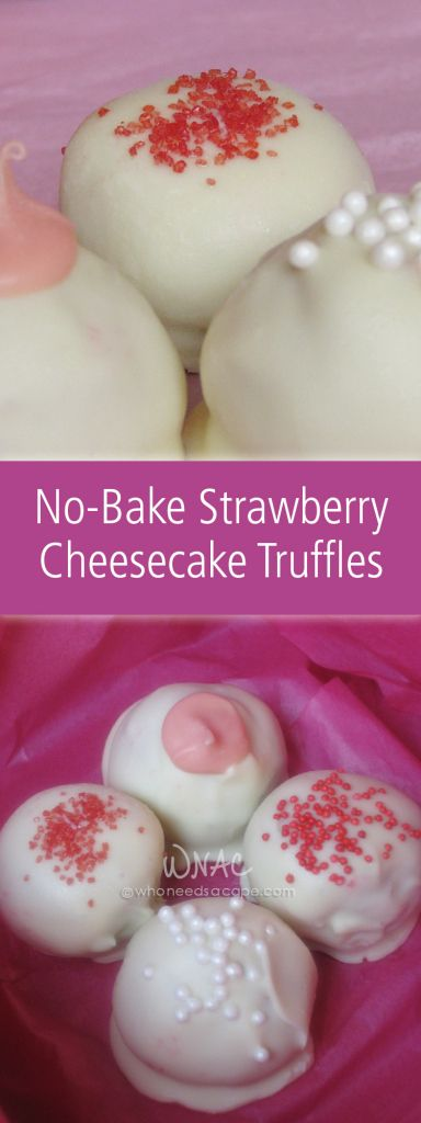 Delicious no bake dessert bites of strawberry cheesecake topped in ...