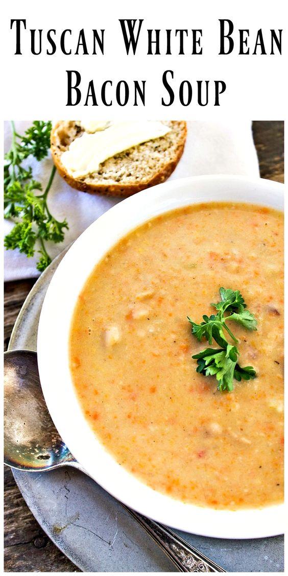 Tuscan White Bean Bacon Soup via @https://www.pinterest.com ...