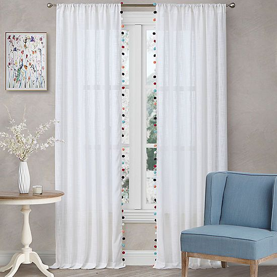 Home Expressions Pom Pom Sheer 2 Pack 2 Pack Rod Pocket Curtain