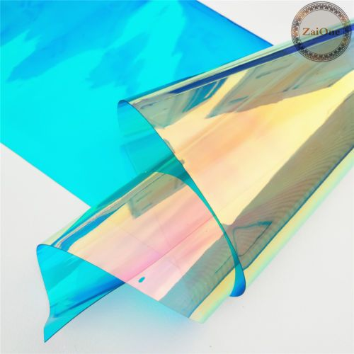 Transparent Clear Holographic Iridescent Pvc Fabric Mirror Film Vinyl Bag Craft Pvc Fabric Mirrors Film Vinyl Crafts