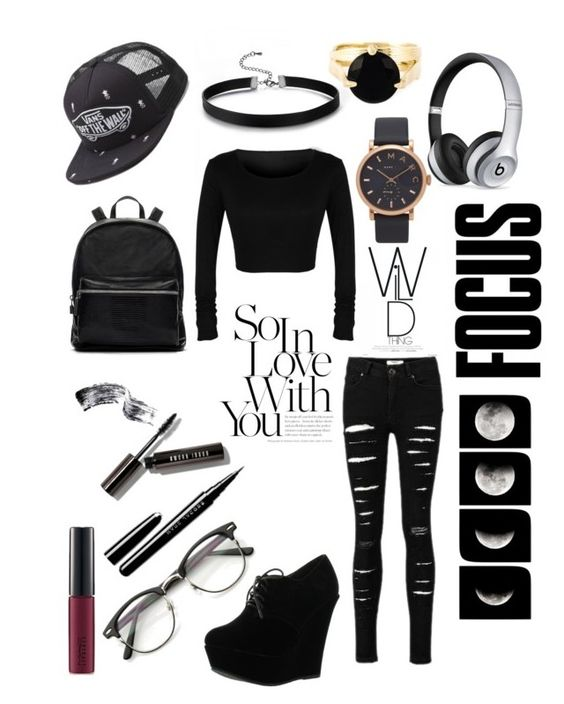 """""""✖️Jet Black Heart✖️"""" by sterngracie on Polyvore featuring beauty, Beats by Dr. Dre, Forever Link, Bobbi Brown Cosmetics, Marc Jacobs, Wouters & Hendrix, MAC Cosmetics, Vans and Elizabeth and James"""