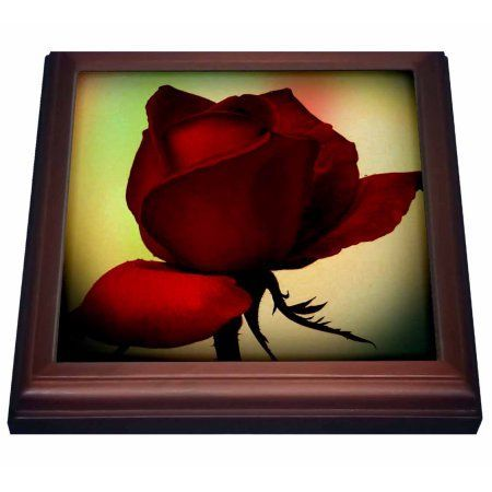 3dRose Romantic Red Rose- Pastel- Flowers, Trivet with Ceramic Tile, 8 by 8-inch