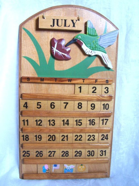 Etsy wall hangings and vintage on pinterest - Wooden perpetual wall calendar ...