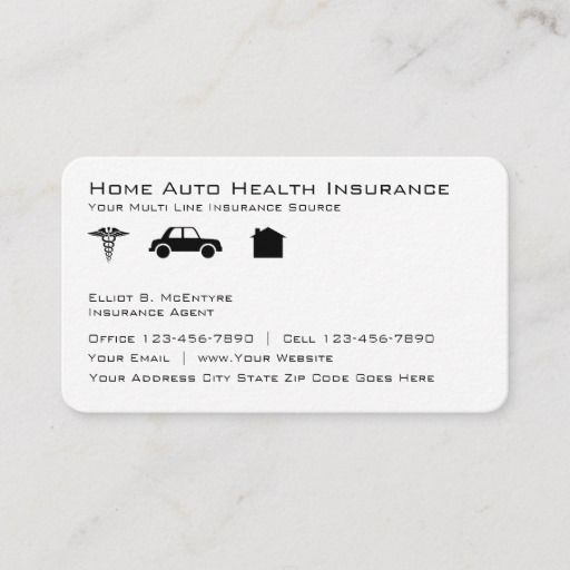 Newest No Cost Home Auto Health Insurance Agent Business Card