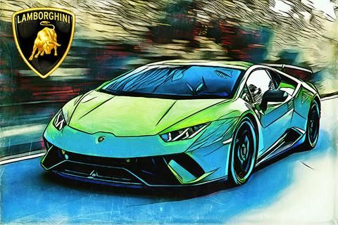 "Lamborghini Aventador On Pebble Beach Poster 24/""x 16/"""