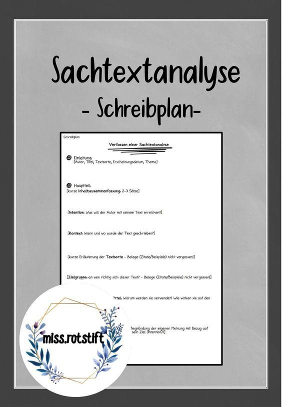 Schreibplan Fur Die Sachtextanalyse Unterrichtsmaterial Im Fach Deutsch In 2020 Sachtextanalyse Deutsch Unterricht Texte Schreiben
