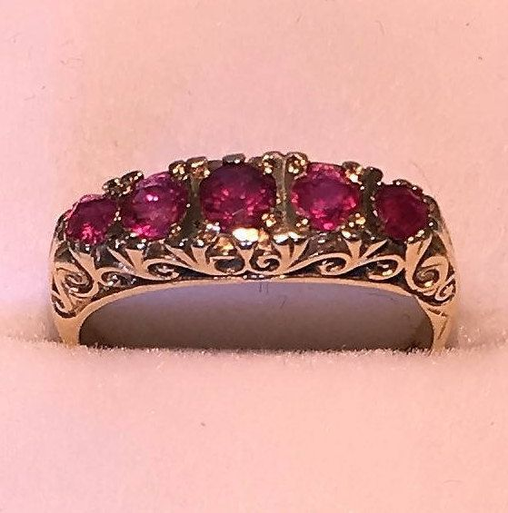 Victorian Ruby 9ct Gold Ring 1848