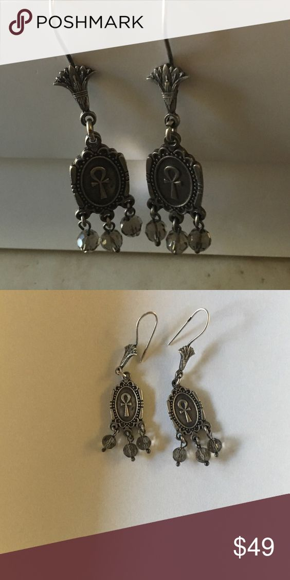 """Egyptian key of life silver earrings with lotus Gorgeous silver earrings with Ankh for eternity, the top has lotus flowers and the bottom has light glass beads, about 2 1/2"""", new never been worn. Jewelry Earrings"""