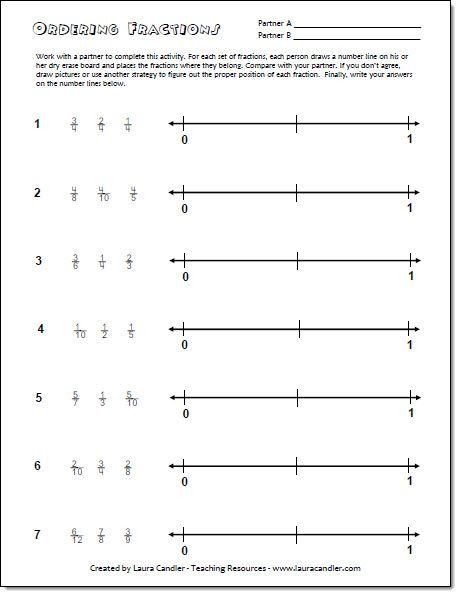 math worksheet : ordering fractions on a number line freebie from laura candler s  : Ordering Fractions Least To Greatest Worksheet
