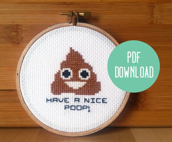 PATTERN: Poop Emoji Funny Cross Stitch Pattern by jimjamcrafts