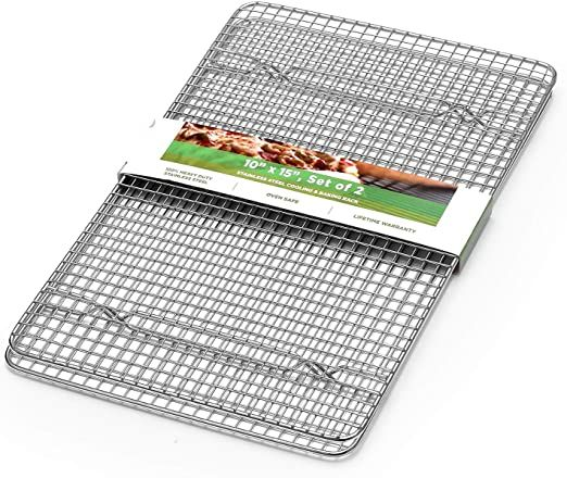 Spring Chef 100 Heavy Duty Stainless Steel Baking Rack Amp Cooling Rack Oven Safe 10x15 Inches Set Of 2 Fits Jelly Oven Safe Cooling Rack Jelly Roll Pan