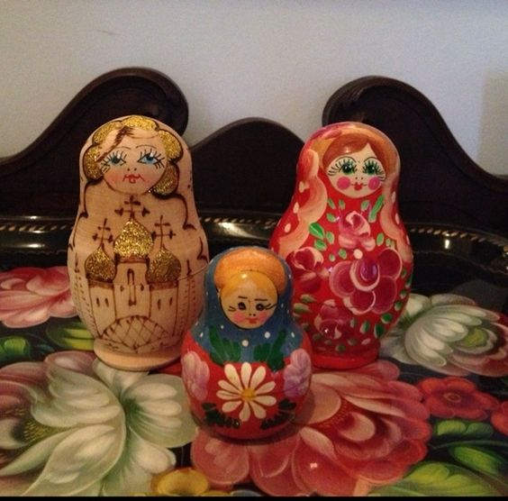 3 Vintage Matryoshka Nesting Dolls from Russia
