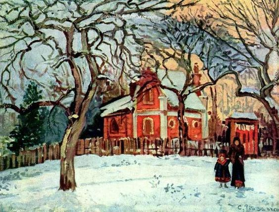 Camille Pissarro Chestnut Trees, Louveciennes, Winter, 1872 oil painting for sale, painting Authorized official website