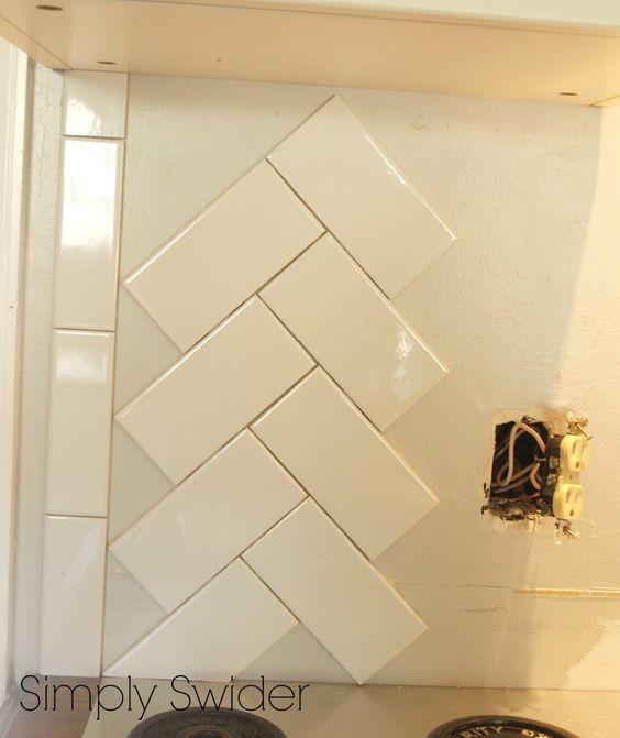 Subway Tile Back Splash in a Herringbone Pattern