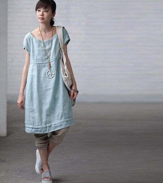 Loose Fitting Maxi Dress - Summer Dress in Blue - Short Sleeve ...
